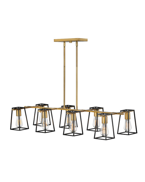 Hinkley Chandelier Filmore Collection Eight Light Linear in Heritage Brass, 35168HB
