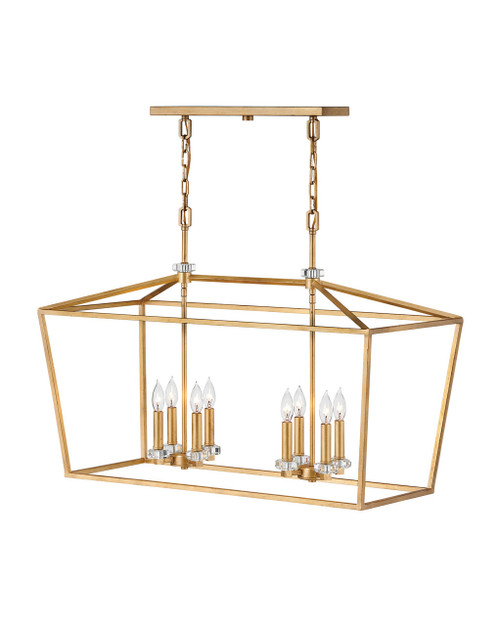 Hinkley Chandelier Stinson Collection Eight Light Linear in Distressed Brass, 3534DA