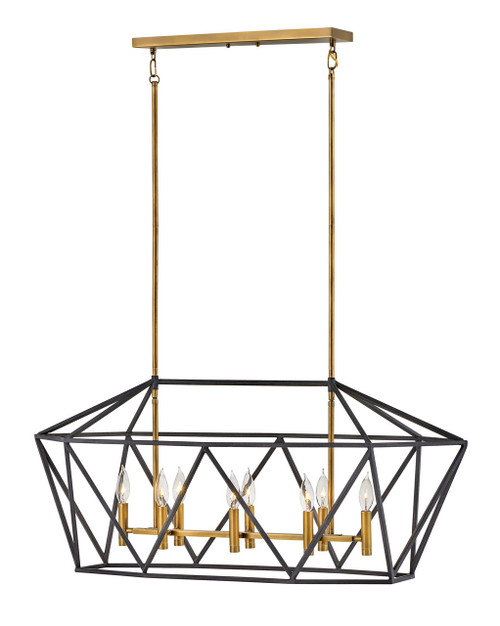 Hinkley Chandelier Theory Collection Eight Light Linear in Aged Zinc, 3575DZ