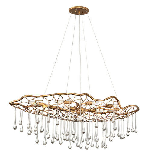Hinkley Chandelier Laguna Collection Eight Light Linear in Burnished Gold, 45308BNG