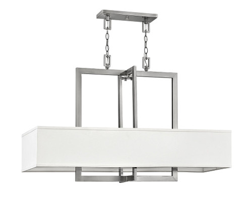 Hinkley Chandelier Hampton Collection Four Light Linear in Antique Nickel, 3218AN