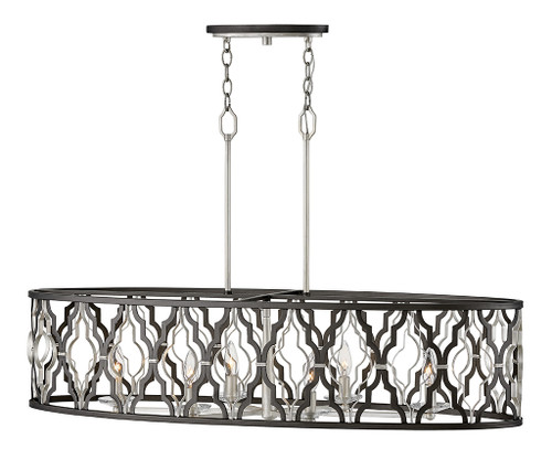 Hinkley Chandelier Portico Collection 6 Light Open Frame Linear in Glacial, 3068GG