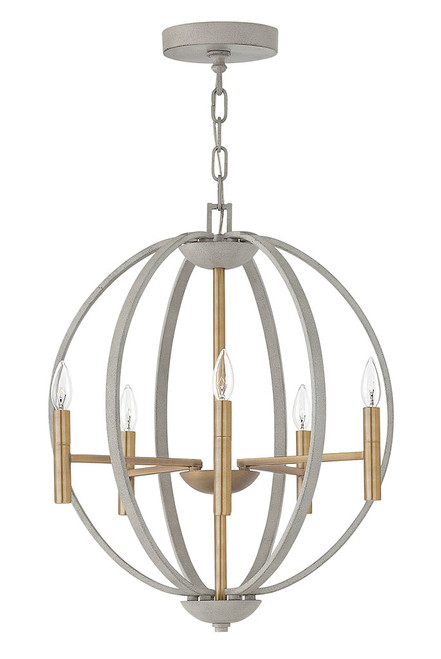 Hinkley Chandelier Euclid Collection Medium Orb in Cement Gray, 3466CG