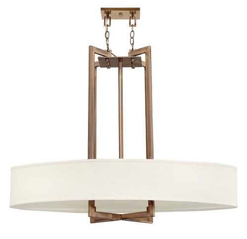 Hinkley Chandelier Hampton Collection Large Oval Drum in Brushed Bronze, 3208BR