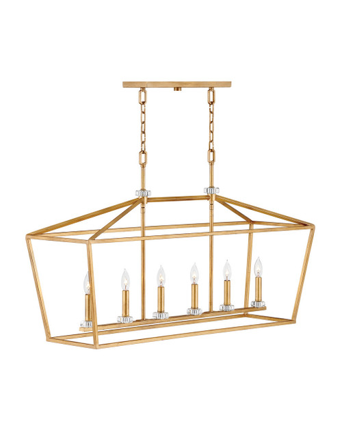 Hinkley Chandelier Stinson Collection Six Light Linear in Distressed Brass, 3539DA