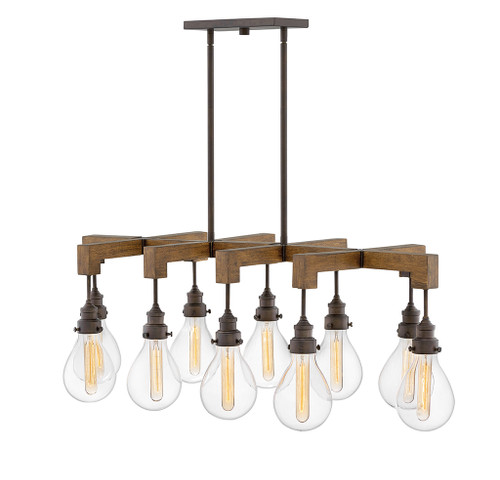 Hinkley Chandelier Denton Collection Large Ten Light Linear in Industrial Iron, 3269IN