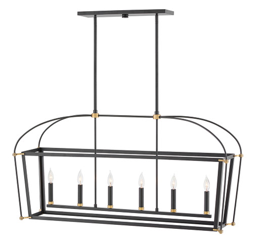 Hinkley Chandelier Selby Collection Six Light Open Frame Linear in Black, 4054BK
