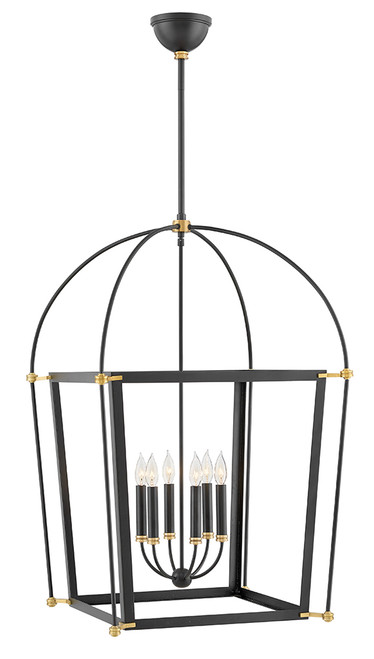 Hinkley Chandelier Selby Collection Large Open Frame in Black, 4056BK