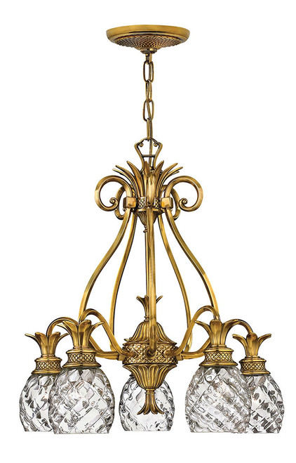 Hinkley Chandelier Plantation Collection Medium Single Tier in Burnished Brass, 4885BB