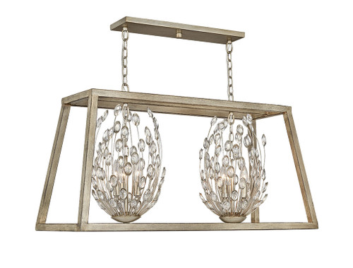 Hinkley Chandelier Loren Collection Six Light Open Frame Linear in Silver Leaf, 3188SL