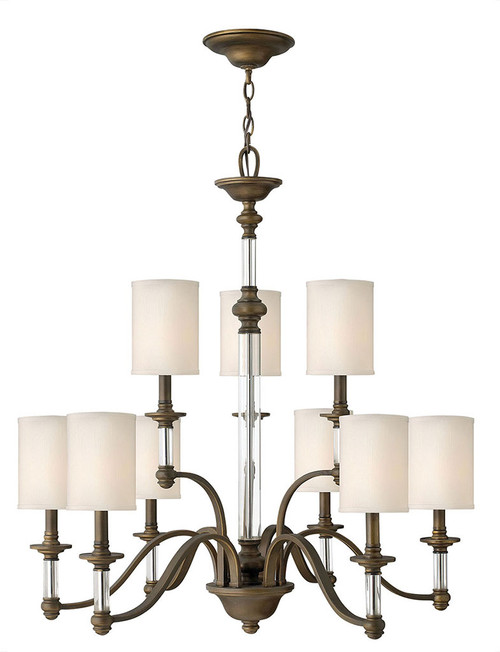 Hinkley Chandelier Sussex Collection Large Two Tier in English Bronze, 4798EZ