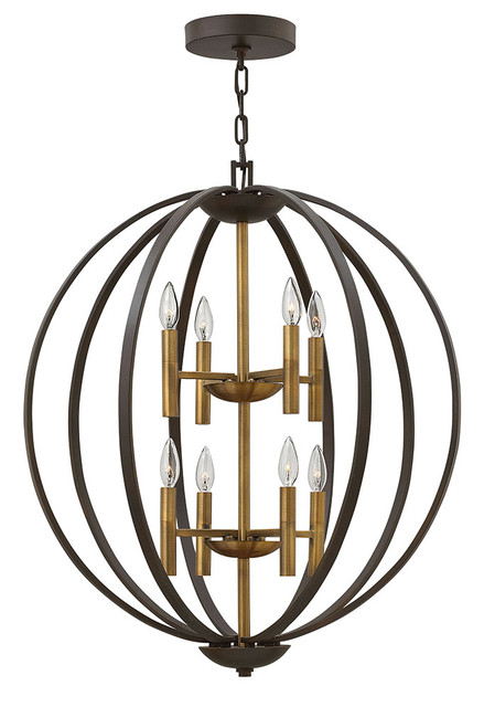 Hinkley Foyer Euclid Collection Large Two Tier Orb in Spanish Bronze, 3468SB