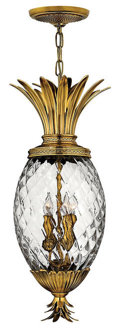 Hinkley Foyer Plantation Collection Large Pendant in Burnished Brass, 2222BB