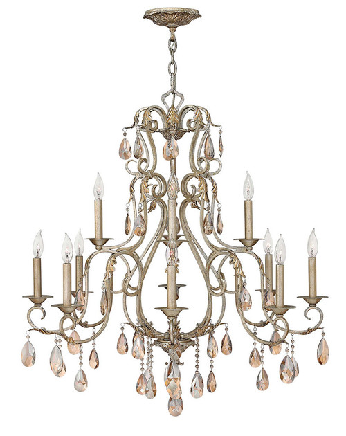 Hinkley Chandelier Carlton Collection Large Two Tier in Silver Leaf, 4778SL