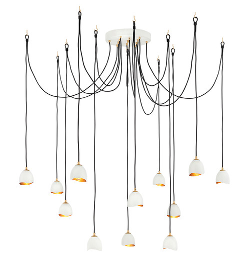 Hinkley Chandelier Nula Collection Large Multi Tier in Shell White, 35908SHW