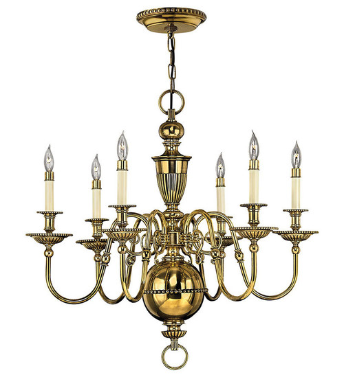Hinkley Chandelier Cambridge Collection Medium Single Tier in Burnished Brass, 4416BB