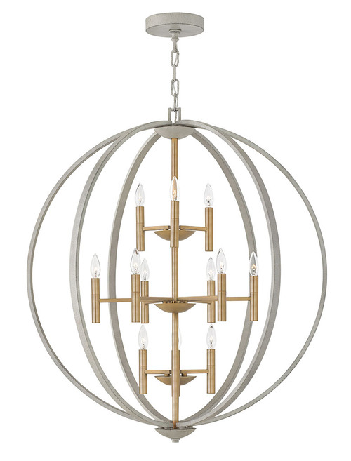 Hinkley Foyer Euclid Collection Large Three Tier Orb in Cement Gray, 3469CG