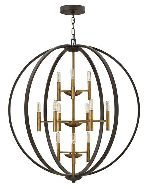 Hinkley Foyer Euclid Collection Large Three Tier Orb in Spanish Bronze, 3469SB