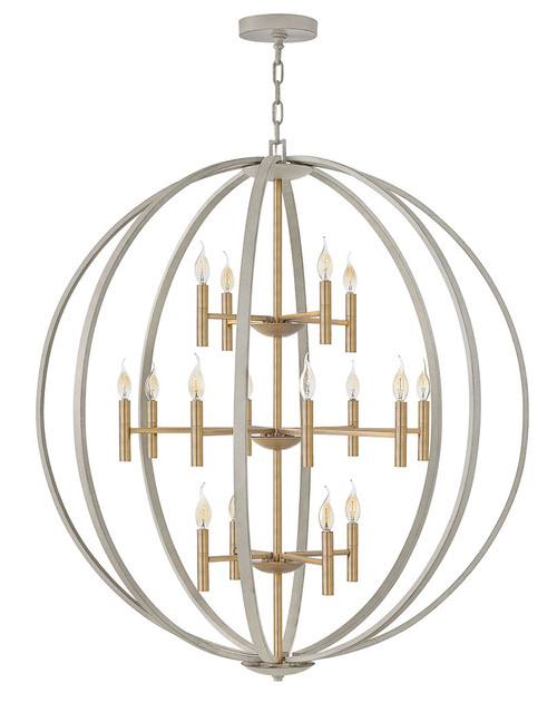Hinkley Chandelier Euclid Collection Extra Large Three Tier Orb in Cement Gray, 3464CG