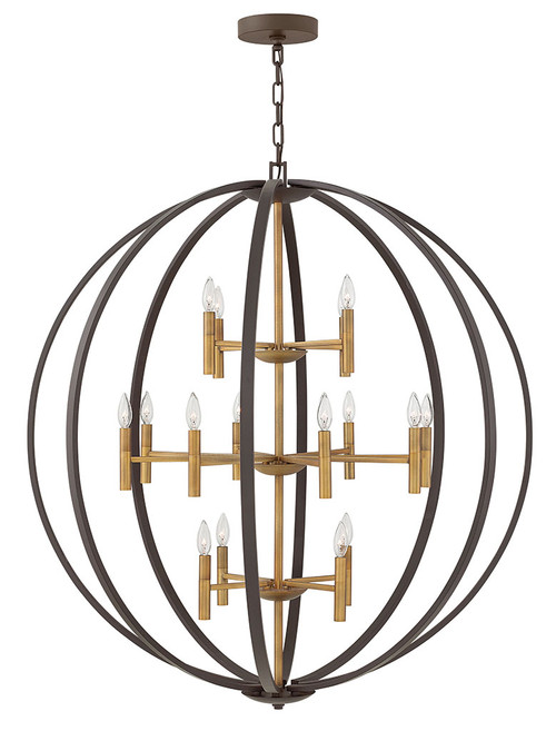 Hinkley Chandelier Euclid Collection Extra Large Three Tier Orb in Spanish Bronze, 3464SB