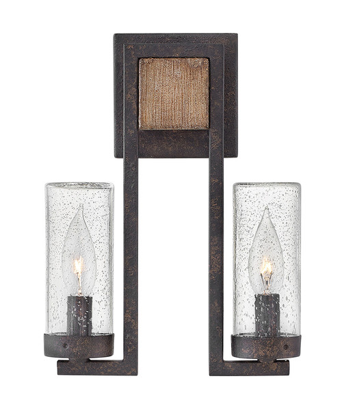Hinkley Outdoor Sawyer Collection Small Wall Mount Sconce in Sequoia, 29202SQ-LL