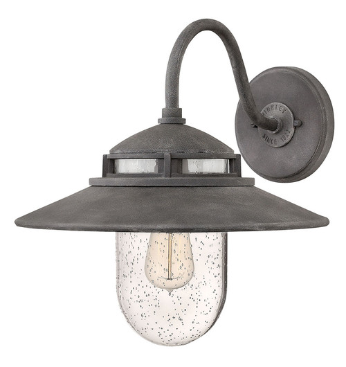 Hinkley Outdoor Atwell Collection Medium Wall Mount Sconce in Aged Zinc, 1114DZ