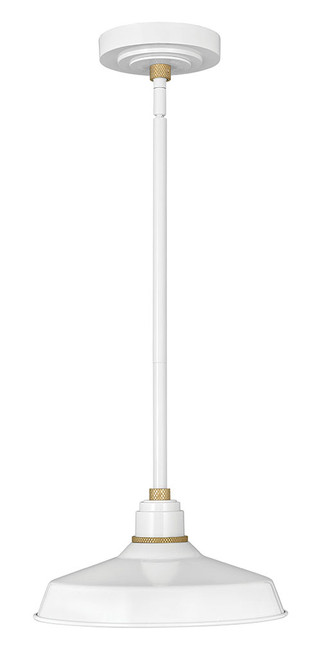 Hinkley Outdoor Foundry Classic Collection Pendant Barn Light in Gloss White, 10382GW