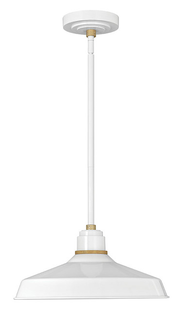 Hinkley Outdoor Foundry Classic Collection Pendant Barn Light in Gloss White, 10483GW