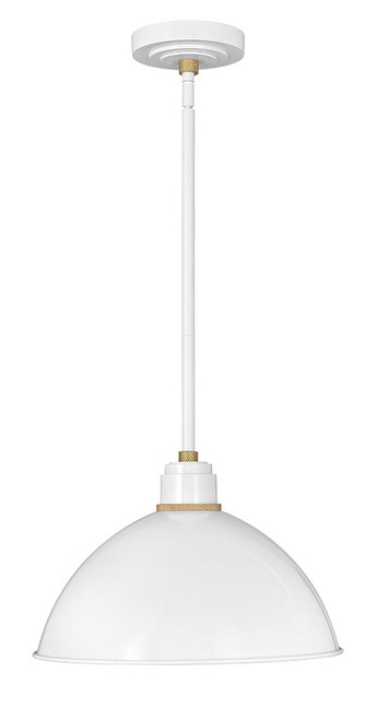 Hinkley Outdoor Foundry Dome Collection Pendant Barn Light in Gloss White, 10685GW