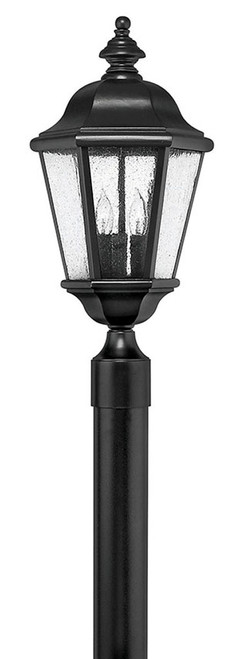 Hinkley Outdoor Edgewater Collection Large Post Top or Pier Mount Lantern in Black, 1671BK