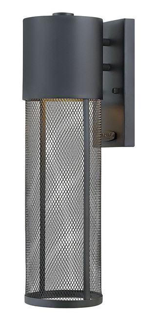 Hinkley Outdoor Aria Collection Medium Wall Mount Lantern in Black, 2304BK-LED