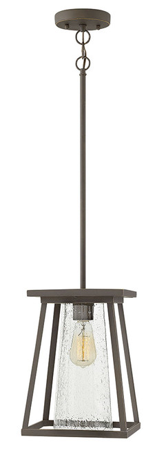 Hinkley Outdoor Burke Collection Medium Hanging Lantern in Oil Rubbed Bronze with Clear glass, 2792OZ-CL