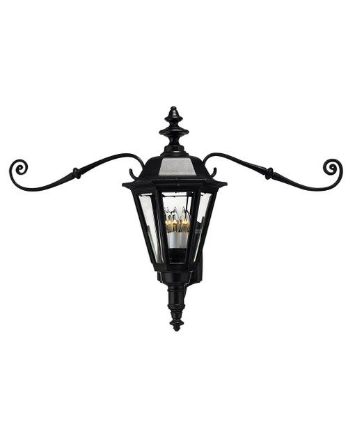 Hinkley Outdoor Manor House Collection Large Wall Mount Lantern with Scroll in Black, 1445BK