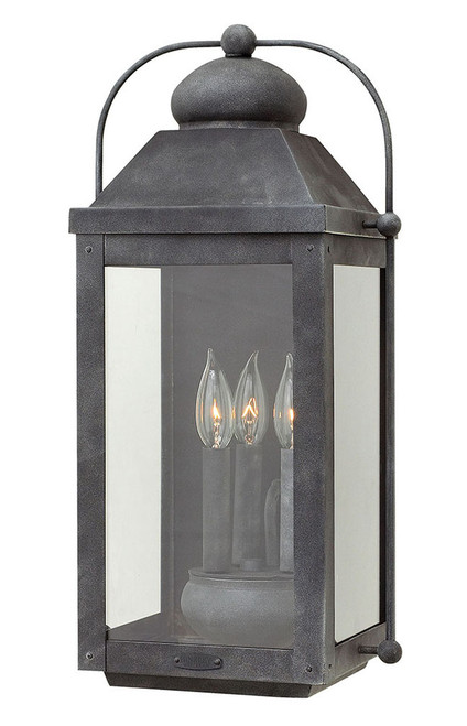 Hinkley Outdoor Anchorage Collection Large Wall Mount Lantern in Aged Zinc, 1855DZ
