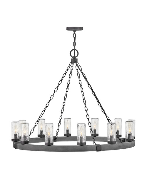 Hinkley Outdoor Sawyer Collection Large Single Tier in Aged Zinc, 29207DZ-LL