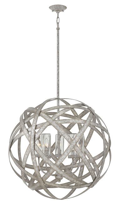 Hinkley Outdoor Carson Collection Large Orb in Weathered Zinc, 29705WZ