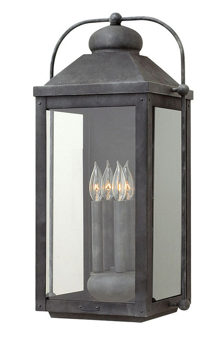 Hinkley Outdoor Anchorage Collection Extra Large Wall Mount Lantern in Aged Zinc, 1858DZ