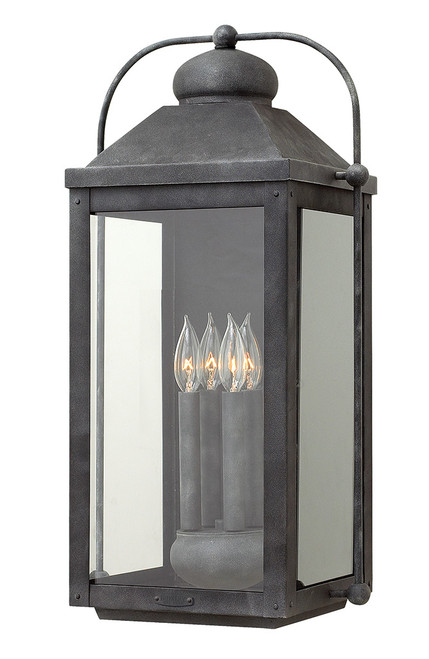 Hinkley Outdoor Anchorage Collection Extra Large Wall Mount Lantern in Aged Zinc, 1858DZ-LL