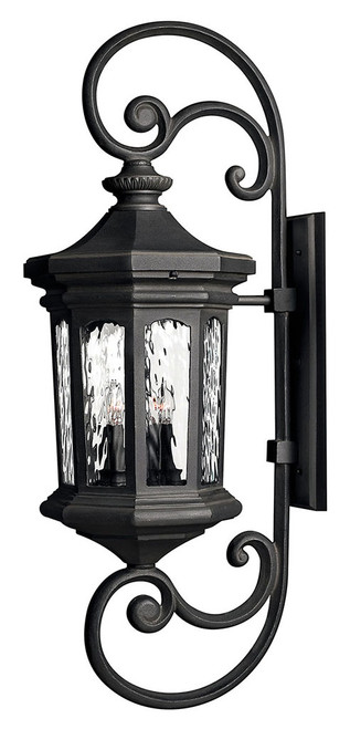 Hinkley Outdoor Raley Collection Extra Large Wall Mount Lantern in Museum Black, 1609MB