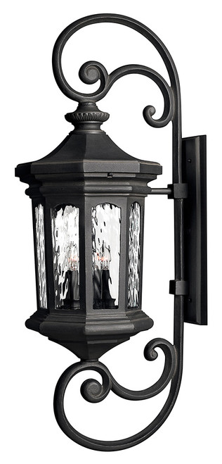 Hinkley Outdoor Raley Collection Extra Large Wall Mount Lantern in Museum Black, 1609MB-LL