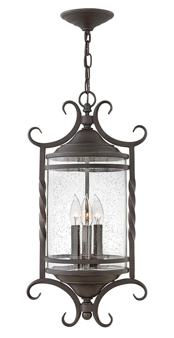 Hinkley Outdoor Casa Collection Extra Large Hanging Lantern in Olde Black with Clear Seedy glass, 1147OL-CL