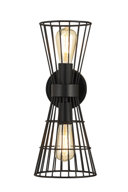 Z-Lite Alito Collection 2 Light Wall Sconce in Matte Black