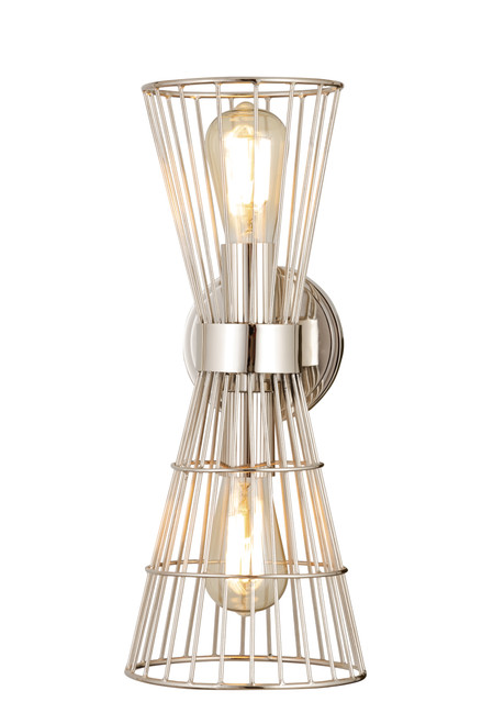 Z-Lite Alito Collection 2 Light Wall Sconce in Polished Nickel