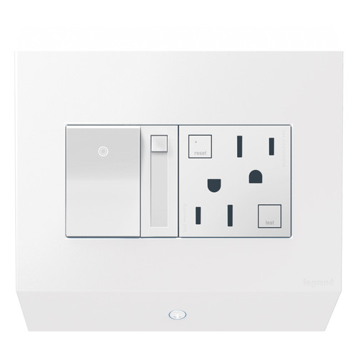 Legrand adorne Under-Cabinet 2-Gang Control Box with Paddle Dimmer and 15A GFCI Outlet