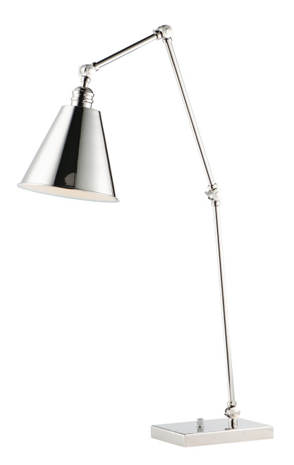 Maxim Library 1-Light Table Lamp in Polished Nickel