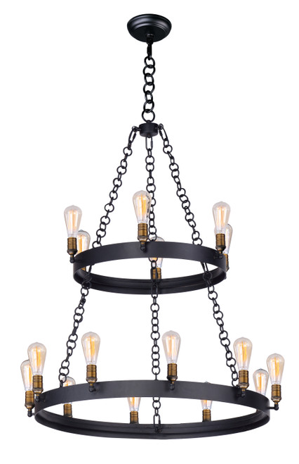 Maxim Noble 16-Light Chandelier in Black / Natural Aged Brass