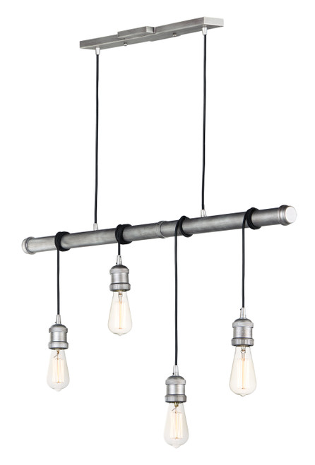 Maxim Early Electric 4-Light Pendant in Weathered Zinc