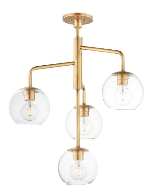 Maxim Branch 4-Light Pendant in Natural Aged Brass