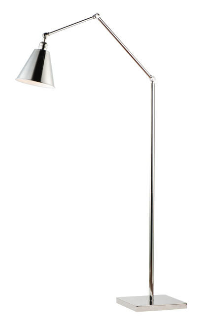 Maxim Library 1-Light Floor Lamp in Polished Nickel