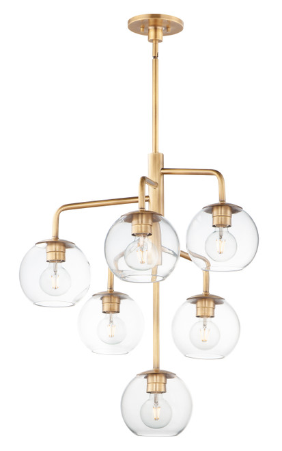 Maxim Branch 6-Light Pendant in Natural Aged Brass